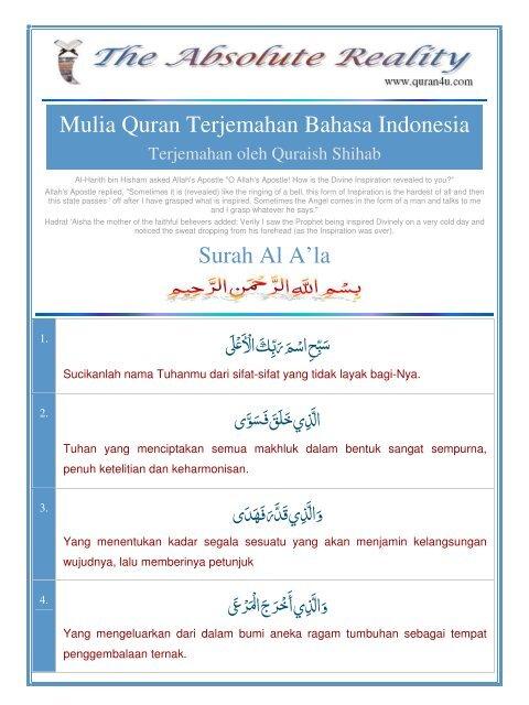 Mulia Quran Terjemahan Bahasa Indonesia Surah Al Ala