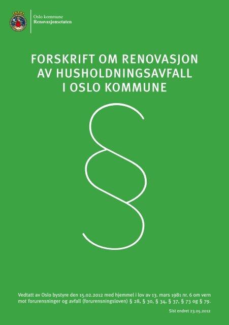 forskrift om renovasjon av husholdningsavfall i oslo kommune