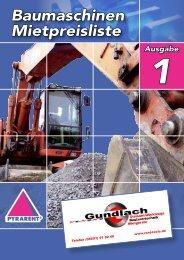 Baumaschinen Mietpreisliste - Gundlach Diamantwerkzeuge