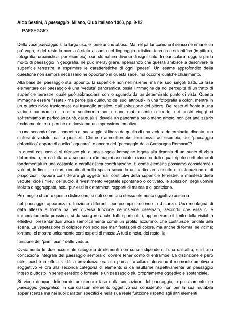 Aldo Sestini, Il paesaggio, Milano, Club Italiano 1963, pp. 9-12. IL ...