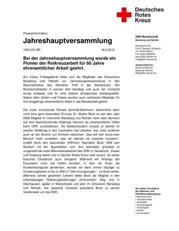 Jahreshauptversammlung - Ortsverein Bensberg und Refrath - DRK