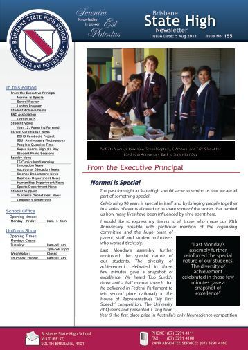 Newsletters Issue - Brisbane State High School
