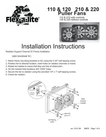dual electric fan 264 flex a lite consolidated installation instructions flex a lite consolidated