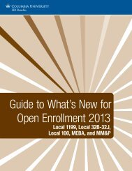 Guide to What's New for Open Enrollment 2013 - Columbia University