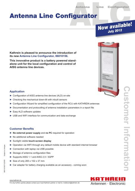 Customer Information: Antenna Line Configurator V2 - Kathrein