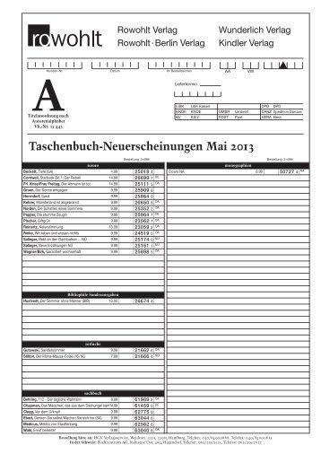 Taschenbuch-Neuerscheinungen Mai 2013 - fuxx-online.de