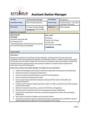 Assistant Manager job description - KPTZ
