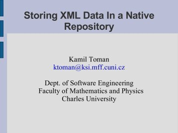 Storing XML Data In a Native Repository