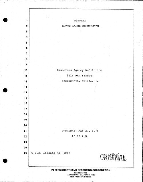 Transcripts - CA State Lands Commission Archives - State of