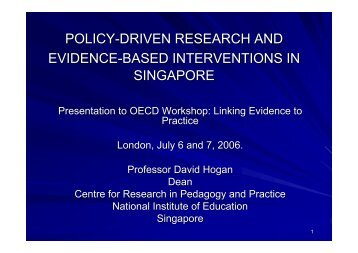 David Hogan (Singapore) - Teaching and Learning Research ...