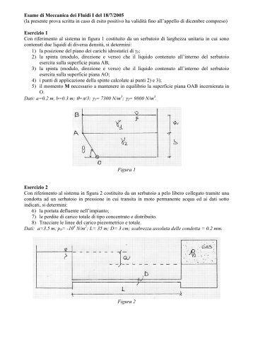Esame di Meccanica dei Fluidi I del 18/7/2005 (la presente prova ...