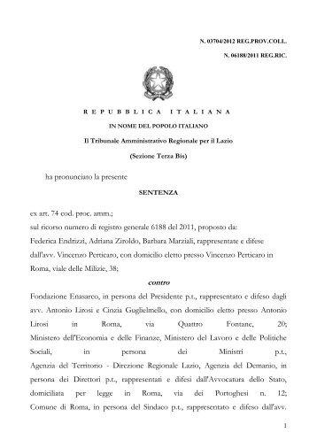Sentenza TAR Val Sillaro 24apr2012 - Asia