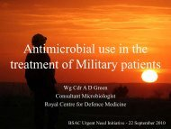 Antimicrobial use in the treatment of Military patients