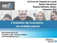L'évaluation des innovations - Québec International