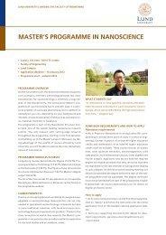 Master's Programme in Nanoscience (2.0 MB) - Lund University