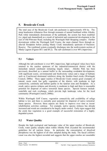 5. Brookvale Creek - Warringah Council