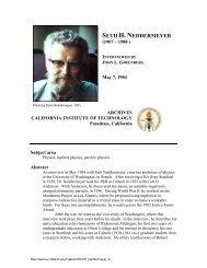Interview with Seth H. Neddermeyer - Caltech Oral Histories