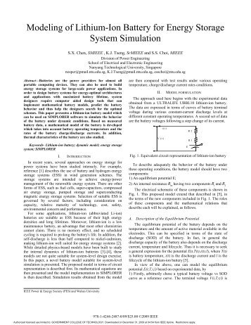 Modeling of Lithium-Ion Battery for Energy Storage System Simulation