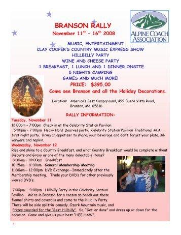 BRANSON RALLY - Alpine Coach Association
