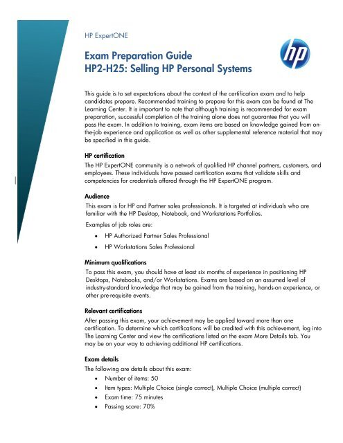 Exam Preparation Guide HP2-H25: Selling HP Personal Systems