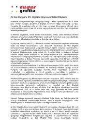 Az Océ-Hungária Kft. Digitális Könyvnyomtatási Pályázata - mgonline
