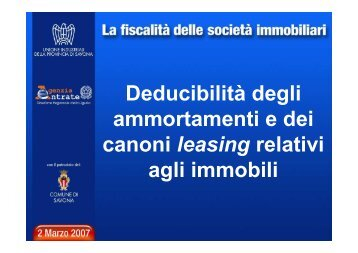 L'indeducibilità delle quote di ammortamento relative al ... - Liguria