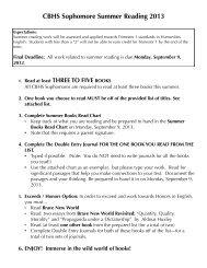 Sophomore Summer Reading
