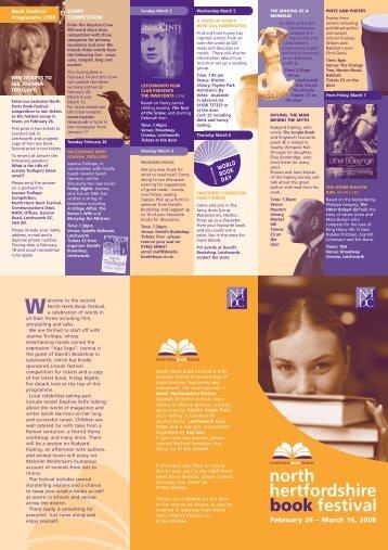 2008 North Hertfordshire Book Festival Programme - Full List of ...