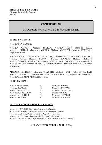 Conseil municipal du 19 novembre 2012 - Deuil-la-Barre