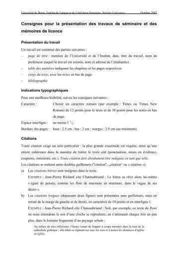 Consignes: présentation des travaux en littérature (pdf, 133KB)