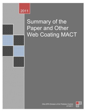Summary of the Paper and Other Web Coating MACT - State of Ohio