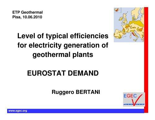 Geothermal power plant efficiency - EGEC