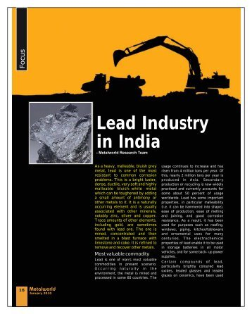 Focus Lead Industry in India - Metalworld.co.in