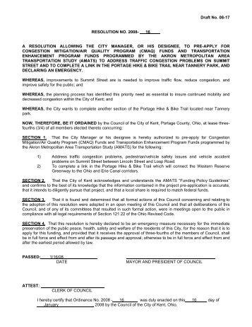 Draft No. 08-17 RESOLUTION NO. 2008- 16 A ... - City of Kent