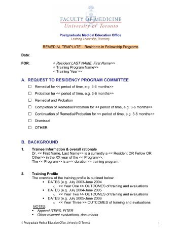 Fellowship Remedial Plan Template - Post Graduate Medical ...