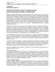 Approbation fédérale du projet d'uranium Matoush - Nature Québec