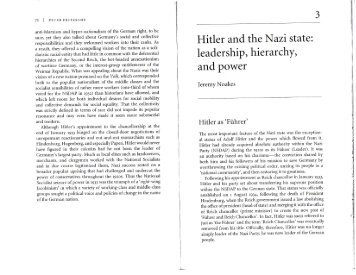 Hitler and the Nazi state: leadership, hierarchy, and power