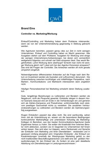 Controller vs. Marketing/Werbung, Brand Eins, 4. Januar 2008
