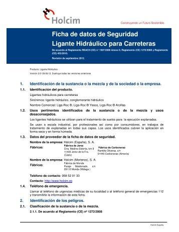 Ficha de Datos de Seguridad Liga-Roc - Holcim