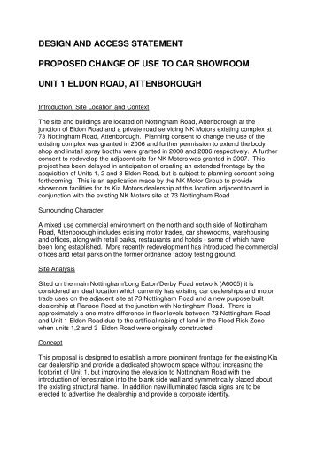 design and access statement proposed change of use to car ...