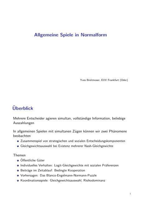 Allgemeine Spiele in Normalform ¨Uberblick