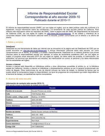 Informe de Responsabilidad Escolar Correspondiente al año ...