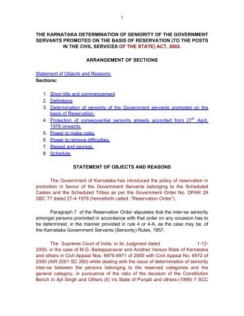 Determination of Seniority of Government Servants promoted on the ...