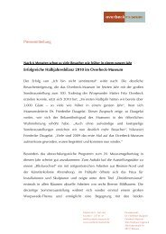 Pressemitteilung Erfolgreiche Halbjahresbilanz 2010 im Overbeck ...