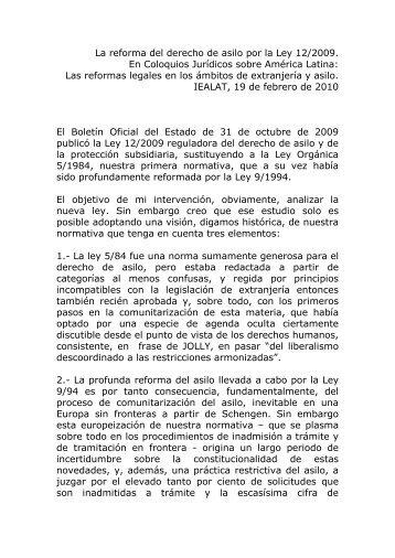 La reforma del derecho de asilo por la Ley 12/2009 - ielat