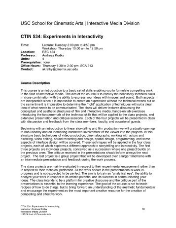 CTIN 534: Experiments in Interactivity - USC Interactive Media Division