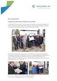 Uebergabe Foerdermittelbescheid - Clean Power Net