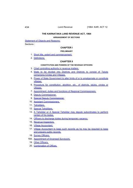 THE KARNATAKA LAND REVENUE ACT, 1964 - [dpal kar nic in