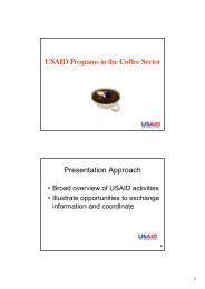 USAID Programs in the Coffee Sector Presentation Approach