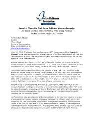 Joseph J. Plumeri to Chair Jackie Robinson Museum Campaign ...